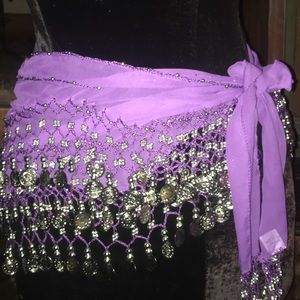 Belly dancer scarf with silver coins in purple